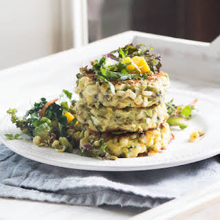 Gluten-Free Mexican Street Corn Fritters with Kale, Avocado and Mango Salad.