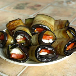 Eggplant Rolls With Tomato And Cream Cheese.