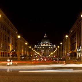 Vatican at night by Rajarshi Chowdhury - Landscapes Starscapes ( vatican city, light streak, church, rome, long exposure, vatican, cityscape, italy, nightscape )