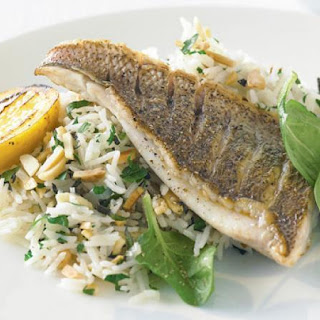 Almond And Herb Pilaf With Grilled Fish.