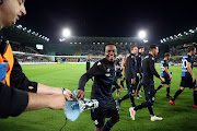 Percy Tau of Club Brugge celebrates after winning the Jupiler Pro League match between Club Brugge KV and Sint-Truidense VV at Jan Breydel Stadium on August 2, 2019 in Brugge, Belgium.