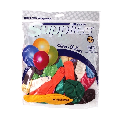 Globos Metalizado Supplies Multicolor X50