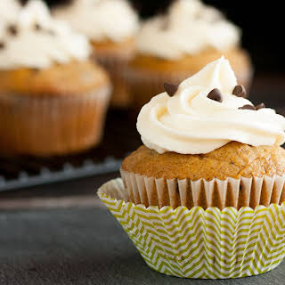 Pumpkin Chocolate Chip Cupcakes With Cream Cheese Frosting.