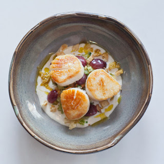 Scallops with Ajo Blanco and Pickled Grapes