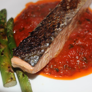 Baked Salmon with Lemongrass & White Wine with Roasted Red Pepper Puree