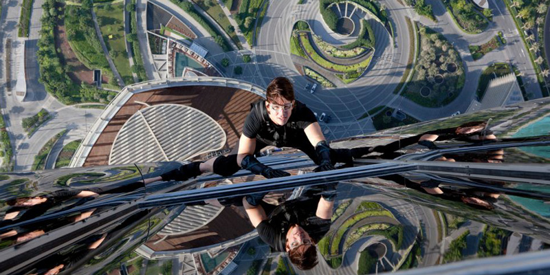 In action: A still of Tom Cruise climbing the Burj Khalifa from the movie Ghost Protocol
