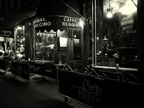 Photo: Cafe Reggio at night.  Greenwich Village, New York City  View the writing that accompanies this post here at this link on Google Plus:  https://plus.google.com/108527329601014444443/posts/SLifjX2gykc  View more New York City photography by Vivienne Gucwa here:  http://nythroughthelens.com/