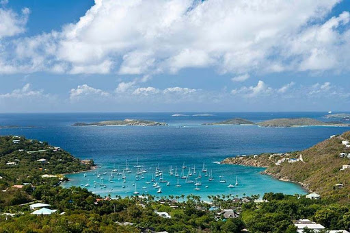 st-john-inlet-usvi.jpg - Boats sail in a pretty inlet on St. John in the US Virgin Islands.