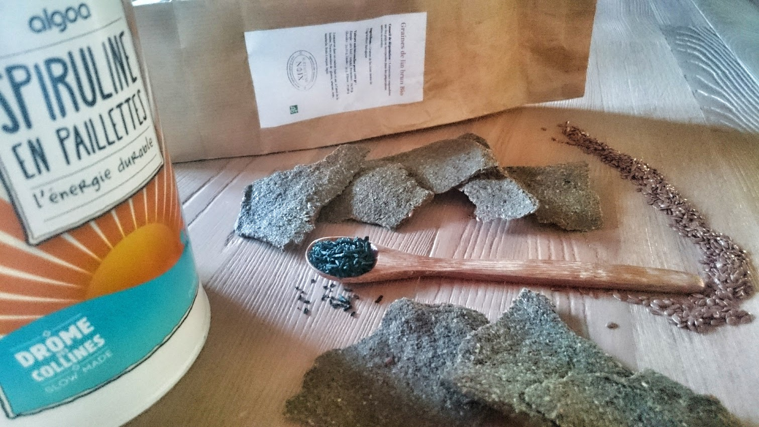 Crackers spiruline graines de lin