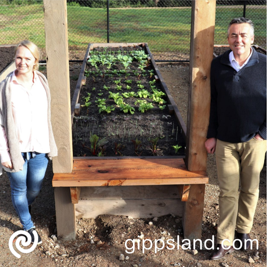Federal Member for Gippsland Darren Chester pictured with SEED Lakeside Community Garden creator Shae Wilson, said the $59,500 grant would support an activation and pathways project