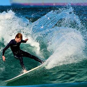 Power turn by Julie Steele - Sports & Fitness Surfing ( turn, steele, wave, surf )