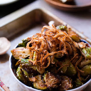 Asian Roasted Brussels Sprouts with Crispy Fried Shiitake Mushrooms.