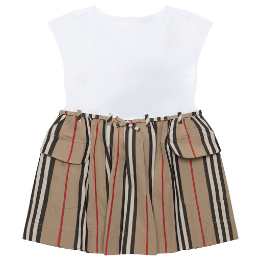 Primary image of Burberry White & Striped Dress