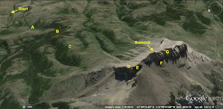 Photo: Summary Followed dirt road (A), bushwacked (B), followed ridge (C) to saddle (D), traversed cliffs (E). traversed talus (E) to coloir (G), then up to top . . . 5 miles one way, 3,250 ft elevation gain.