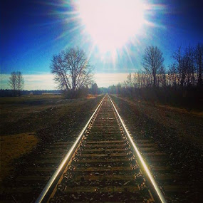 Sky trippn, Wishing for an adventures. by Dawn Morri Loudermilk - Transportation Railway Tracks
