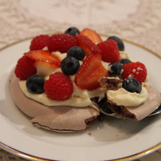 Chocolate Berry Meringue Nests.