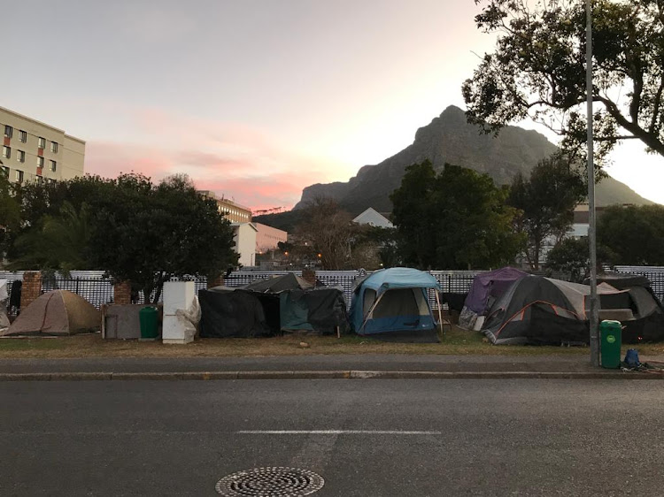 Cape Town's homeless lockdown at dusk on Friday near the Groote Schuur Hospital.