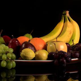 Many fruits by Cristobal Garciaferro Rubio - Food & Drink Fruits & Vegetables ( banana, reflection, greapes, apple, bananas, fruits, red pear, green grapes, pear )