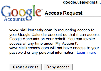 Google Accounts Access example
