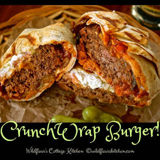 Barbecue Ranch Chili Cheese Crunch Wrap Burger with Bacon.