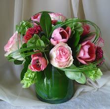 Photo: Cylinder Tulips Coxcomb Bells Ireland, $45.00 each.