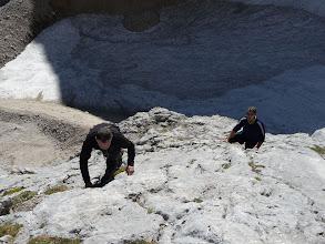 Photo: Las primeras trepadas, abajo el glaciar del Cerredo