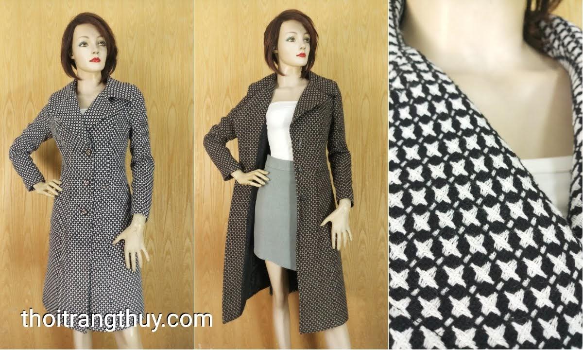 Áo khoác dạ nữ dáng dài qua gối họa tiết sao V643 hải phòng