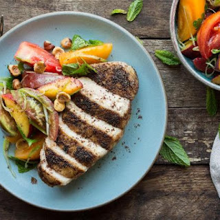 Pan-roasted Pork Loin With Peach-tomato Salad.