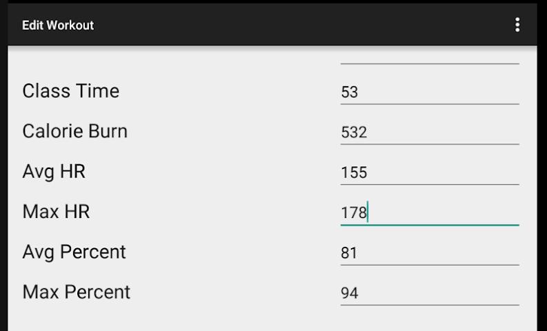 android OTF Workout Calculator Screenshot 1