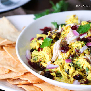 Sweet Spicy Curry Chicken Salad with Cranberries and Red Onions.