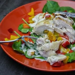 Mozzarella and Spinach Stuffed Chicken.