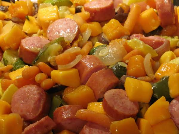 One Skillet Smoked Sausage And Squash