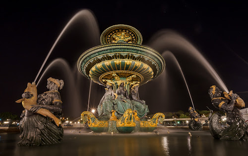 Paris by night by Peter Schoeman - City,  Street & Park  Fountains ( water, concorde, fountain, night, streets, france )