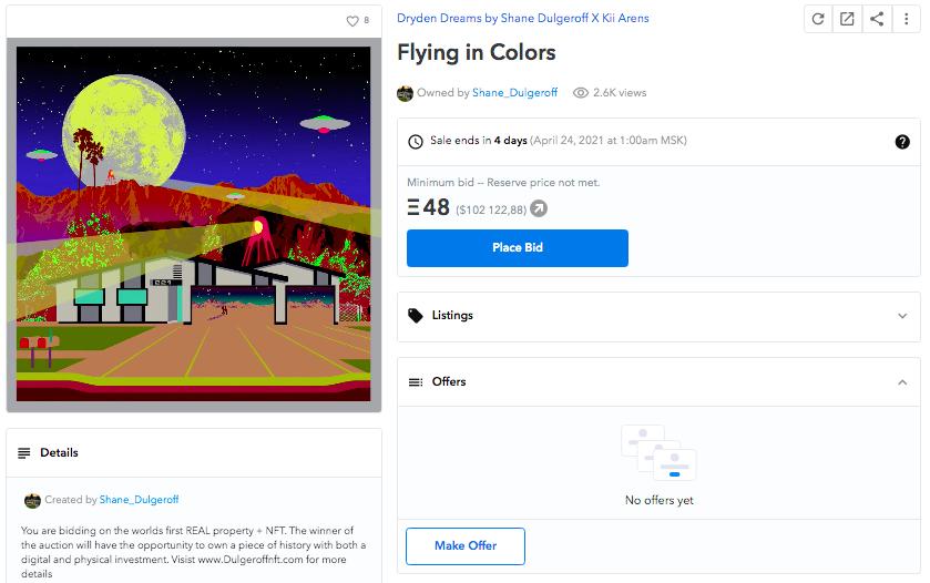 NFT «Flying in Colors», в котором представлены права на дом и видеоролик.