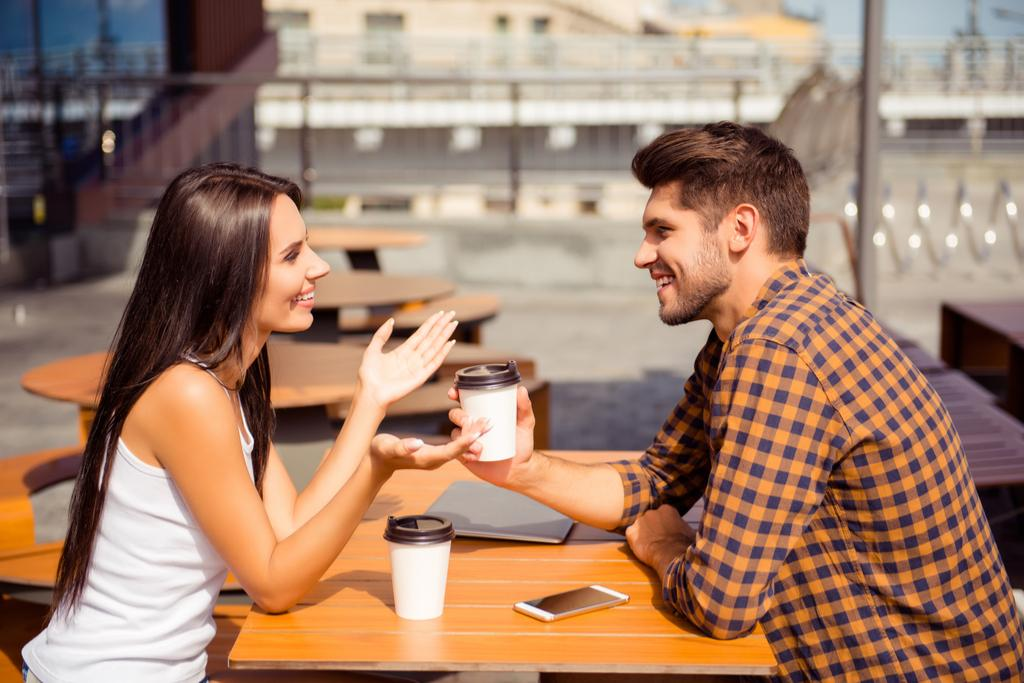 Couple Talking Over Coffee Romance
