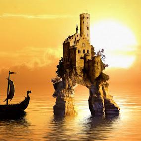 Sunset Castle by Charlie Alolkoy - Illustration Places ( viking, ship, sunset, ocean, castle, sun )