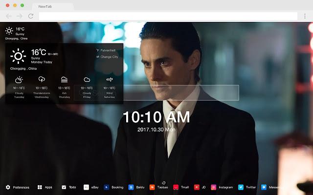 Jared Leto New Tab Page HD Pop Stars Theme