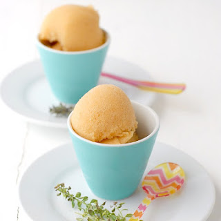 Peach-Thyme Sorbet with Bourbon.
