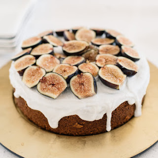 Honey Spice Cake with Coconut Cream and Figs