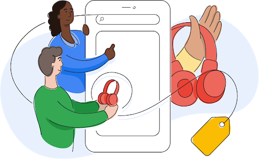 Hero Image of Customer, Business Owner and Google Shopping Team working together