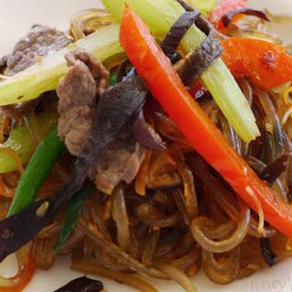 Japchae - Korean Sweet Potato Noodles.