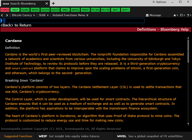 Screengrab showing the Cardano description on Bloomberg Terminal (Source: Twitter)