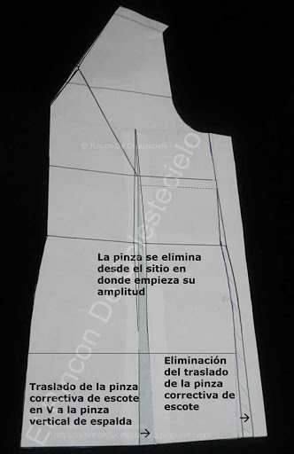 Trasladando pinza correctiva de escote a la pinza vertical y eliminándola por el costado