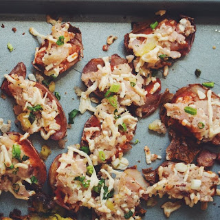 Vegan Potato Pizza Skins →