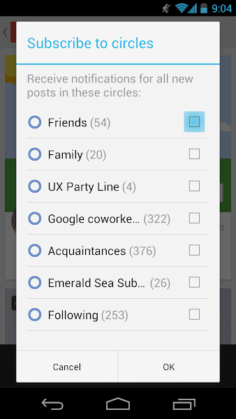Photo: Tap the checkboxes for the circles you want to subscribe to