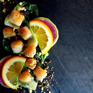 Bay Scallops with Sweet Orange Glaze & Bok Choy