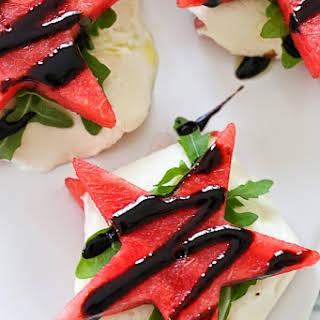 """Watermelon """"Caprese"""" with Balsamic Glaze."""