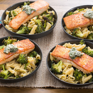 Seared Salmon & Campanelle Pasta with Roasted Broccoli & Lemon-Herb Butter.