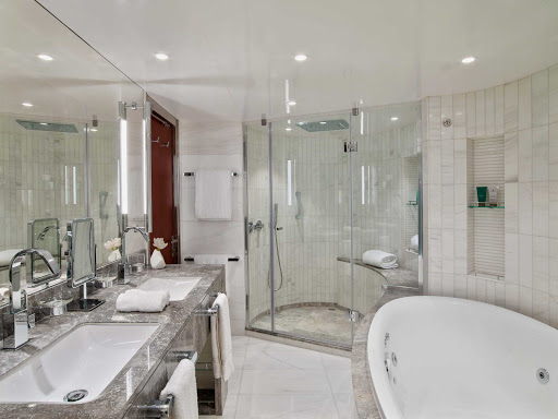A look at the modern stylings of the Wintergarden Suite bathroom on Seabourn Encore.