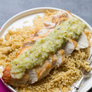 Pan-Seared Chicken Breasts with Roasted Tomatillo Salsa Recipe